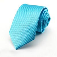Wholesale mens cravat ties - men ties novelty mens neck Slim Tie Turquoise blue neckties cravat fashion ascot solid color wedding business