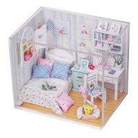 kits de muebles de casa de muñecas de madera al por mayor-Kits de bricolaje hechos a mano de madera casa de muñecas cama en miniatura con LED + muebles + cubierta de regalo