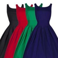 vestido rockabilly vermelho venda por atacado-Womens verão elegante preto vermelho 1950 s vintage pinup retro rockabilly audrey hepburn estilo 50 s 60 s cinto com cinto de balanço do partido dress