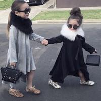 gri çocuklar tutu etekleri toptan satış-INS Popüler Parti Asimetrik Elbiseler 2018 İlkbahar Sonbahar Çocuk Giysileri Kızlar Tutu Etek Çocuk Bebek Giysileri Rahat Pamuk Katı Siyah Gri