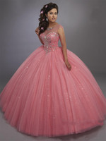 2020 Calypso Ball Gown Quinceanera Dresses Illusion Scoop Neck and Lace Up Back Bling Bling Crystals Sweet 15 Dress Pageant Party Dresses
