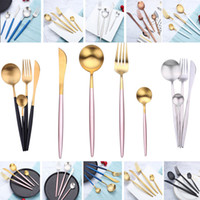 Wholesale knives fda for sale - 4pcs Set Flatware Set Spoon Fork Knife Tea Spoon Stainless Steel Table Dinnerware Sets Luxury Western Cultery Set HH7