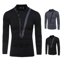 Wholesale T Shirt Decorating - New Men's Fashion Color Stitching T-shirt Button decorated Male Long Sleeved T-shirt