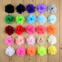 Wholesale Neon Flowers - Summer Sytle 2.56Inch Neon Chiffon head Flowers Flat back For Baby Girls Headband 200pcs lot Kids Hair accessories