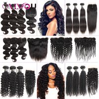Wholesale grades human hair extension resale online - Cheap Brazilian Virgin Hair Lace Frontal Bundles a Grade Peruvian Human Hair Extensions Deep Wave Curly Hair Weaves Closure with Bundles