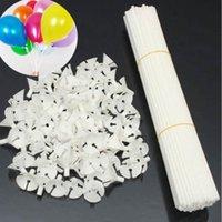 accessoires de poteau achat en gros de-100 Pcs / lot blanc 32 cm ballon bâton pôle tiges en plastique porte coupe fête d'anniversaire noël ballons de mariage décoration accessoires