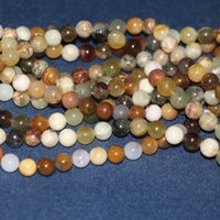 Wholesale semi precious stones round 8mm resale online - 8mm semi precious stone round shape beads mm hole for jewelry factory price About pieces per