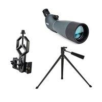 evrensel kapsam toptan satış-Spotting Scope SV28 Teleskop Yakınlaştırma 25-75X 70mm Su geçirmez kuşgözlem Av Monoküler Evrensel Telefon Adaptörü Dağı Ücretsiz gemi