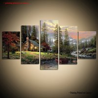 Wholesale nude oil painting large - Large Modern Giclee Print Art Thomas Kinkade Landscape Oil Painting Canvas Wall Home Decor 5 Piece Painting picture for Living Room Decor
