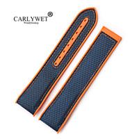 uhrenband gummi großhandel-CARLYWET 20 22mm Neue Art-Qualitäts-Gummi-Silikon mit Nylonersatz-Armband-Bügel-Gurt für Planeten-Ozean 45 42mm