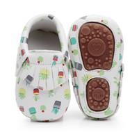 sert ayakkabı toptan satış-Sıcak satmak sert taban çiçek baskı PU Deri Saçak bebek moccasins bebek ayakkabı kaymaz ilk yürüyüşe el yapımı ayakkabı
