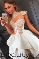 Wholesale Mini Lace Tiered Short Skirts - 2018 Short Party Dresses Homecoming Dresses Tiered Skirt A Line Princess Prom Gown Vintage Lace Appliques Sexy Mini Cheap Cocktail Dress