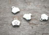 Wholesale wholesale nursing caps - 30pcs lot --Nurse cap Charms, Antique Tibetan Silver Tone 2 Sided Nurse cap charm pendants 12x13mm