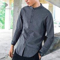 geleneksel çince yaka toptan satış-Erkekler Keten Gömlek Uzun Kollu Çin Tarzı Mandarin Yaka Geleneksel Kung Fu Tang Rahat Sosyal Gömlek Marka Giyim