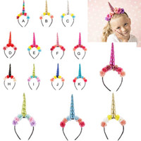 Wholesale colorful hair colors for sale - 11 colors Unicorn Hair sticks New girl Colorful flowers Unicorn headband Children birthday Unicorn hair sticks kids Hair Accessory