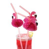 гибкая пластмассовая солома оптовых-Симпатичные 3D фламинго соломы гибкие пластиковые соломинки для питья день рождения свадьба душа ребенка бассейн партии декор поставки