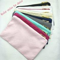 rosa baumwolltasche großhandel-9color Styles Baumwoll-Canvas-Make-up-Tasche mit goldenem Reißverschluss Goldfutter schwarz / weiß / creme / grau / navy / mint / pink / hellrosa Kulturbeutel auf Lager