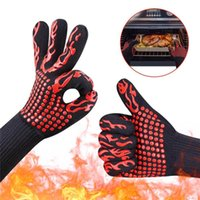 Wholesale bbq glove for sale - Group buy Silicone BBQ Gloves Insulated Kitchen Tool Celsius Heat Resistant Glove Oven Pot Holder BBQ Baking Cooking Mitts Five Fingers Anti Slip