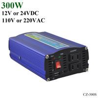 12v inversor de onda sinusoidal pura al por mayor-300W de inversor de red, 12V / 24V DC a AC110V / 220V inversor de onda sinusoidal pura para sistemas de energía solar o eólica pequeños, 600W de sobretensión