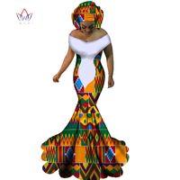 ingrosso stampe africane sirena abiti-2017 BRW Abiti africani per le donne Sexy Slash Neck Abiti lunghi Bazin Riche African Print Mermaid Abbigliamento Plus Size 6XL WY1860