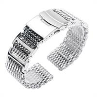 düğme bantları toptan satış-Emniyet Watch Band ile serin 22mm Gümüş Katlanır Toka Köpekbalığı Mesh Paslanmaz Çelik Kadınlar HQ Push Button Katı Bağlantı Erkekler GD019422