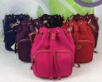 Wholesale mini red buckets resale online - Excellent Quality new waterproof Canvas Drawstring lady messenger bag phone purse fashion satchel chain shoulder bag handbag