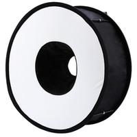 anillo de flash universal al por mayor-Lightdow 45cm Anillo plegable Speedlite Difusor de flash Macro Disparo Softbox redondo para Canon Nikon Sony Pentax Godox Speedlight