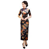 vestidos de terciopelo de china al por mayor-Shanghai Story 2018 Otoño Mujer Vintage Floral Qipao Velvet Cheongsam vestido vestido largo chino para mujer