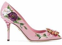 çiçek düğün ayakkabıları topuklu ayakkabı toptan satış-Moda 2018 marka yeni pembe Pompalar Kadınlar Sivri Burun parti ayakkabı Moda düğün Ayakkabı elmas elbise ayakkabı çiçek baskı deri yüksek topuklu