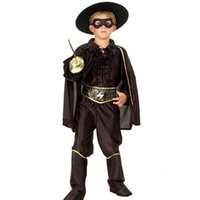 erkek kostümleri toptan satış-Cadılar bayramı Boys Giyim Setleri Maskeli Yakışıklı Vampir Bandit Süper Kahraman Zorro Kostüm Çocuklar Cosplay Çocuklar için