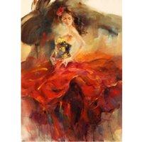 el boyama elbisesi toptan satış-El boyalı Rakam Yağlıboya Tuval Üzerine Impressional Sanat Kadın Dansçı Kırmızı Elbise Ev Dekorasyon 6 Stilleri
