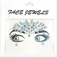 Wholesale tattoo design colorful - Fashion Colorful Design Stickers For Music Festival Makeup Beauty Crystal Face Tattoo Sticker Non Toxic Party Decoration Tools 4 5yj Z