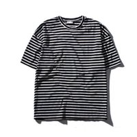 Wholesale basic long sleeve shirts - Oversize Striped T-shirt Men Short Sleeve 2018 Summer Streetwear Basic T Shirts Men 2 Colors