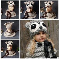 Wholesale Knitted Animal Hats For Kids - Scarf Hat Set Girls Winter Kids Owl Animal Knitted Hood Beanies for Autumn Winter Party Gifts Owl Hats set 2 Colors Free Shipping
