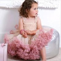 ingrosso filato azzurro-Baby Tutu abiti per Toddler Girls Ruffle Pleated Angolo Baby Princess Yarn Dress per Birthday Party Gift Pink Blue