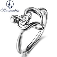 Wholesale music wedding rings resale online - Slovecabin Europe Fashion Jewelry Sterling Silver Music Ring For Women Treble Clef harm Music Lover Wedding Ring Anel S18101001