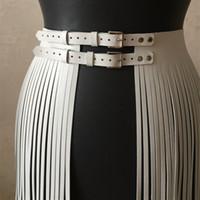 şık moda etekler toptan satış-Moda Kadın Ayarlanabilir Suni Deri Kemer Fringe Püskül Etek Çift Bel Kemeri İngiltere Şık GPD8551 S18101807