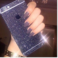 Wholesale Glitter Stickers For Phones - Glitter decal for iphone x 6 6s 7 8 plus Bling rhinestone phone sticker Cover for Samsung galaxy note 8 s8 s8 plus