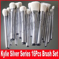 Wholesale Silver Makeup Brushes - Kylie Jenner 16 Pcs set Makeup Brushes with leather pouch High quality make up brush Free shipping