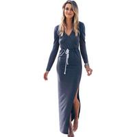 marineblaue kleidungshülsen beiläufig großhandel-Herbst Langarm Casual Kleider Navy Blue V-Ausschnitt Taille Krawatten Bleistift Maxi Kleid für Frauen Streetwear Split
