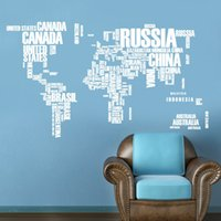 Wholesale Classic Movies Wallpaper - wallpaper Colorful Letters World Map Wall Stickers Living Room Home Decorations Creative Pvc Decal Mural Art Diy Office Wall Art H47