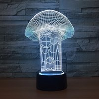 Wholesale light house 3d for sale - Group buy Mushroom House D Optical Illusion Lamp Night Light DC V USB Powered th Battery Dropshipping Free Shippin