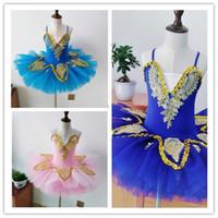 balé de cisne branco venda por atacado-Profissional branco swan lake ballet tutu traje meninas crianças bailarina dress crianças ballet dress dancewear vestido de dança para meninas 3 cor 010