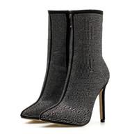 schwarze stiefel strasssteine groihandel-Damenmode Glanz schwarze Stiefel wies Strass High Heel Stiefel Herbst Winter Schuhe Hochwertige Komfort große Größe Fett Fuß
