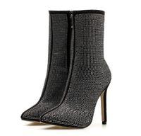 botas de rhinestone al por mayor-La moda de las mujeres brillan botas negras puntiagudas botas de tacón alto de diamantes de imitación zapatos de invierno de otoño Comodidad de gran tamaño pie gordo de gran tamaño