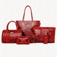 китайские кожаные сумки оптовых-6 шт./Комплект искусственная кожа тиснение мешок китайском стиле женщин сумки Сумка мода сумки на ремне кошелек ST05