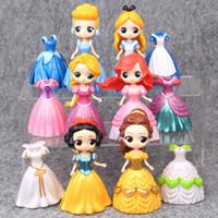 tipos de vestidos al por mayor-6 tipo de princesa y 6 ropas Mano para hacer el vestido de cambio de serie Muñeca Muñeca Juego de niños Casa Regalo de juguete
