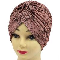 hint kalıbı toptan satış-Yeni Stil Hint Tarzı Gerdirilebilir Türban Kemo Headwrap Kadın Erkek Kafa Sarma Kap Kapak Çiçek Leopar Desen Uyku Şapka