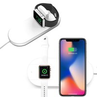 зарядка apple iwatch оптовых-2 в 1 беспроводное зарядное устройство Ци быстрая зарядка для Apple Watch 2 3 4 iWatch iPhone X XR XS Макс 8 плюс Samsung S8 S9 Plus Pad Адаптер для телефона для док-станции