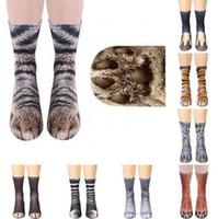 calcetines adultos de dibujos animados al por mayor-Calcetines unisex de animales adultos 3D Hombres Mujeres Calcetines largos de Halloween Diseño animal falso